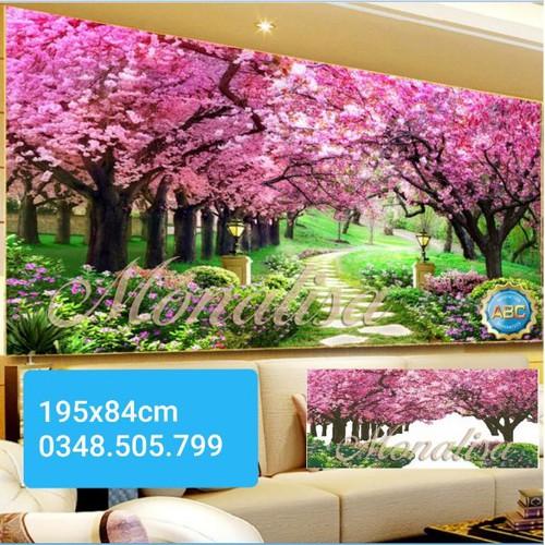 Tranh thêu chữ thập phong cảnh rừng cây tím 195x84cm