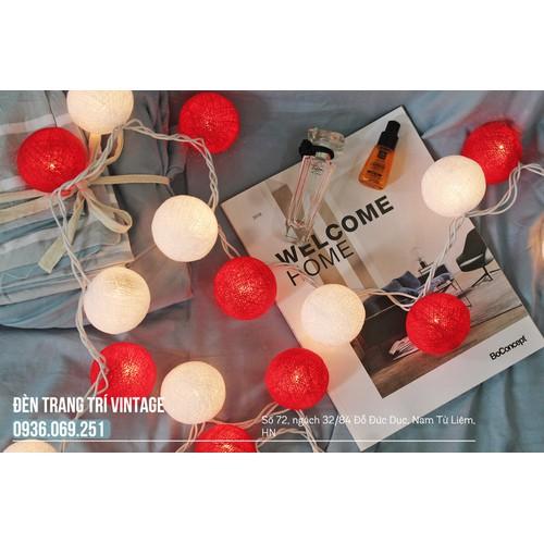 Đèn bóng len - Đèn trang trí phòng - Bộ đỏ mix trắng