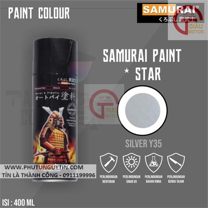 y35 _ Chai sơn xịt sơn xe máy Samurai Y35 màu Bạc  Yamaha _ Silver  uy tín, giao hàng nhanh, giá rẻ 2