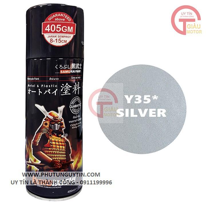 y35 _ Chai sơn xịt sơn xe máy Samurai Y35 màu Bạc  Yamaha _ Silver  uy tín, giao hàng nhanh, giá rẻ 3