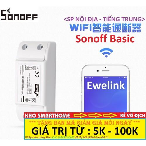 Công tắc thông minh Sonoff Basic - SP Nội Địa - Tiếng Trung, điều khiển từ xa qua WIFI, 3G, 4G
