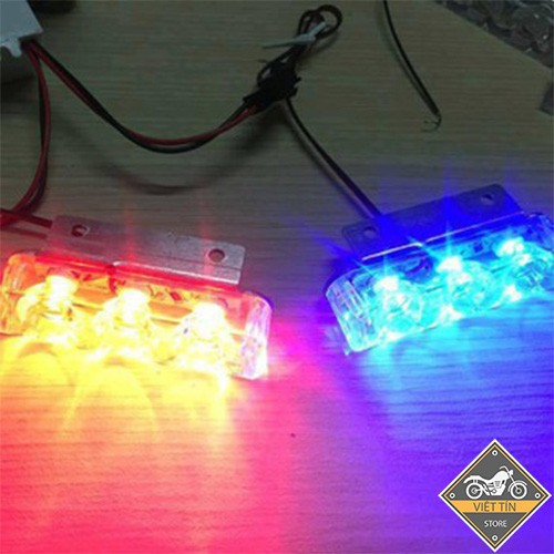 Đèn Led chớp Police cảnh sát nhấp nháy xanh đỏ mỗi bên 3 led KC39 - Kmart