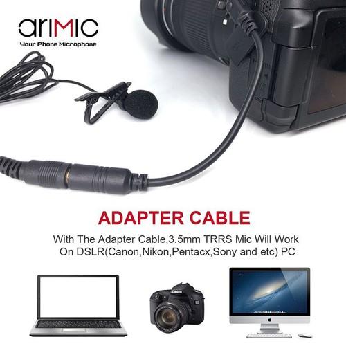Micro cài áo cho điện thoại và máy ảnh AriMic Clip-on Lavalier 1.5m