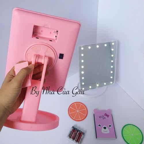 _ Tặng 4 pin_ Gương cảm ứng có đèn led tiện dụng cho chị em phụ nữ làm đẹp