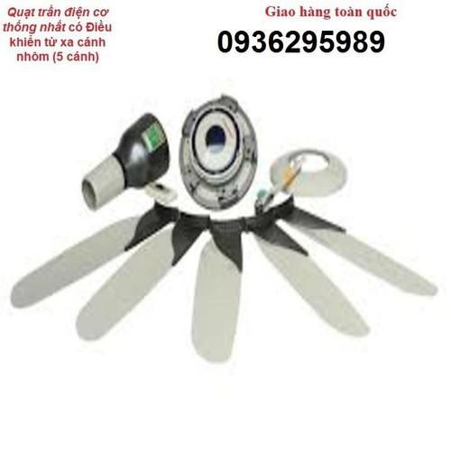 Quạt trần điện cơ thống nhất có Điều khiển từ xa cánh nhôm _5 cánh, quạt trần bảo hành uy tín