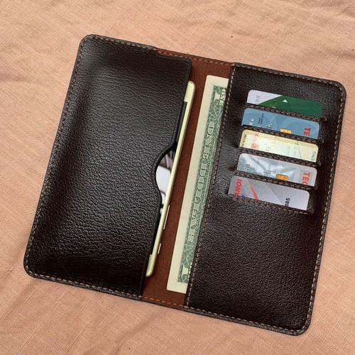 Ví nữ để điện thoại - thẻ - giấy tờ - vân hạt mang lại cảm giác mới lạ cho người yêu thích đồ da DT050