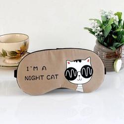 Miếng bịt mắt ngủ 3D có túi gel làm mát mắt hoạ tiết những chú mèo đêm kèm 2 cặp nút tai giảm tiếng ồn - nâu