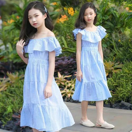 Đầm bé gái sọc xanh dáng dài 4-16 tuổi - 4689724 , 17496607 , 15_17496607 , 240000 , Dam-be-gai-soc-xanh-dang-dai-4-16-tuoi-15_17496607 , sendo.vn , Đầm bé gái sọc xanh dáng dài 4-16 tuổi