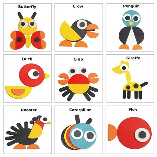 Bộ lắp ghép hình nhiều con vật bằng gỗ hình cho bé