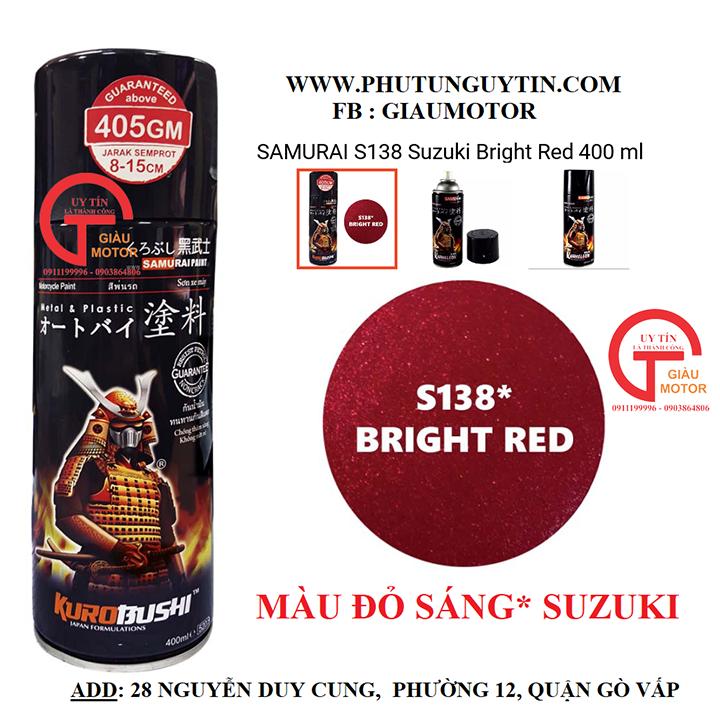 Chai sơn xịt sơn xe máy Samurai S138 màu đỏ sáng Suzuki _ Bright Red, shop uy tín, giao hàng nhanh, giá rẻ 2