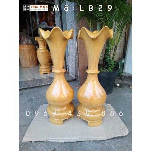 Cặp bình củ tỏi gỗ mít