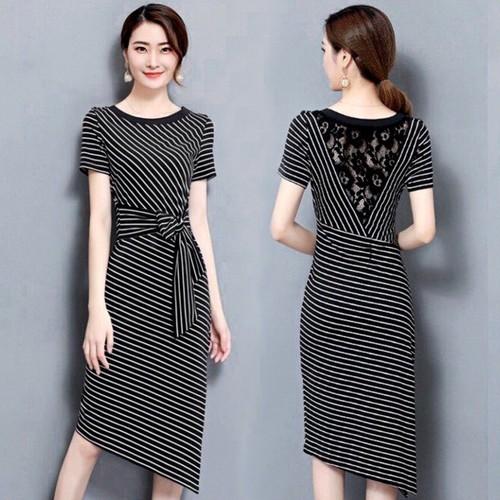 Đầm Thun Đầm Ôm Sọc Kẻ Trẻ Trung Hàn Quốc ANN1091