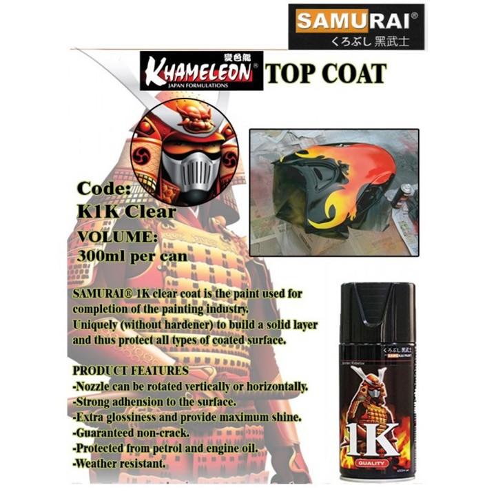 K1K _ Chai sơn xịt sơn xe máy Samurai K1K** sơn phủ bóng trong suốt 1 thành phần _ Top coat _ shop uy tín, giao nhanh 3