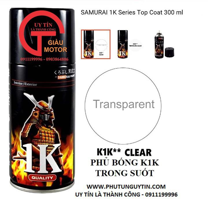 K1K _ Chai sơn xịt sơn xe máy Samurai K1K** sơn phủ bóng trong suốt 1 thành phần _ Top coat _ shop uy tín, giao nhanh 6
