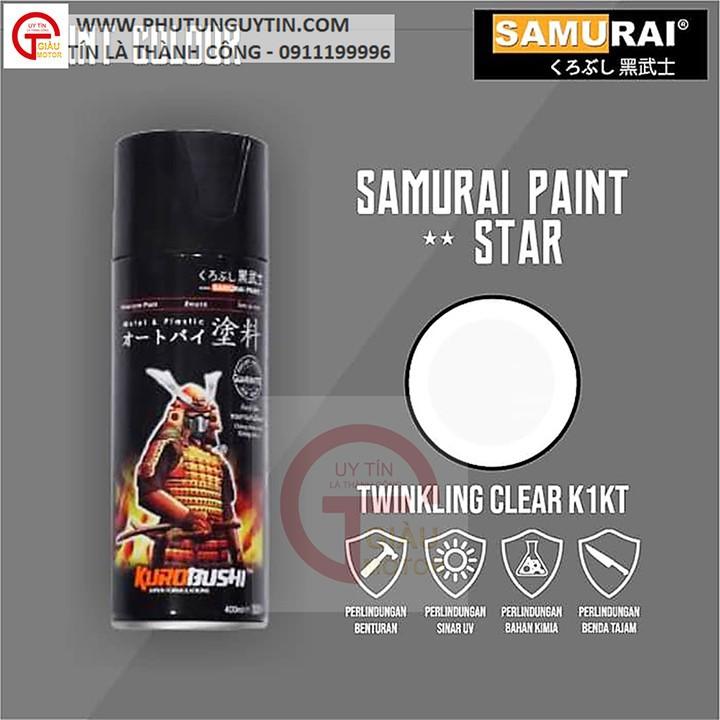 K1kt _ Chai sơn xịt sơn xe máy Samurai K1KT keo trong nhũ  lấp lánh kim tuyến _ Twinkling Clear, shop uy tín, giao nhanh 2