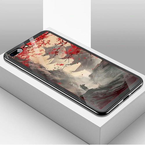 Ốp kính cường lực dành cho điện thoại iPhone 7 Plus - 8 Plus - hoa anh đào tranh phong cảnh - hadpc 028 - giá tốt