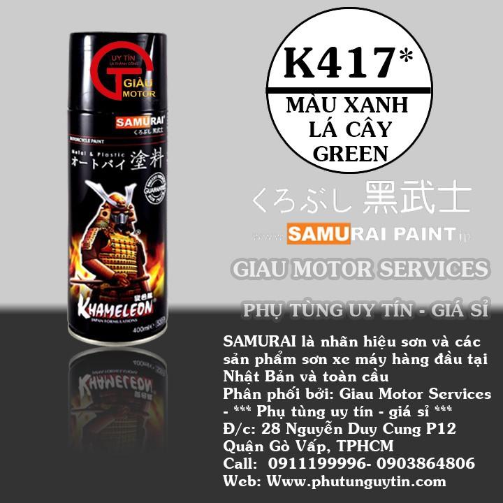 K417_ Chai sơn xịt sơn xe máy Samurai K417 màu xanh lá cây Kawasaki  giá rẻ, uy tín, giao hàng nhanh 1