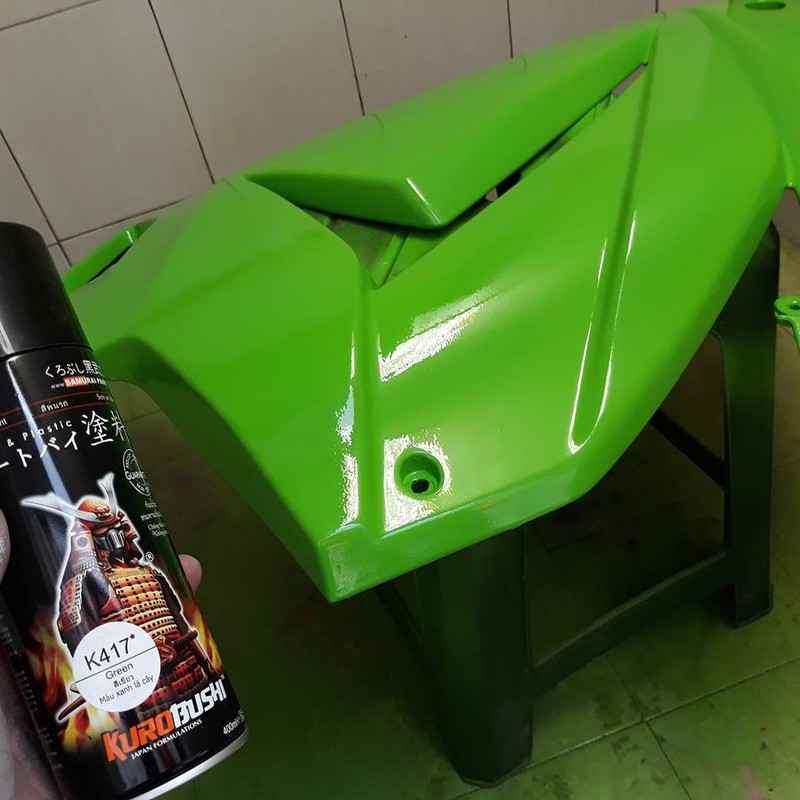 K417_ Chai sơn xịt sơn xe máy Samurai K417 màu xanh lá cây Kawasaki  giá rẻ, uy tín, giao hàng nhanh 11