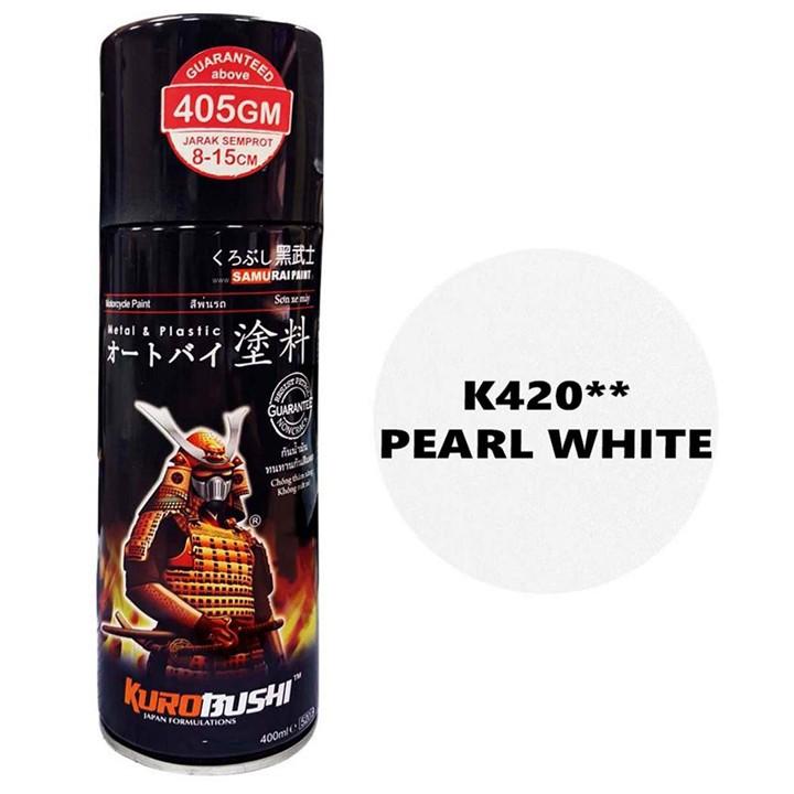 K420 _ Chai sơn xịt sơn xe máy Samurai K420 màu trắng Ngọc trai Kawasaki  giá rẻ, uy tín, giao hàng nhanh 3