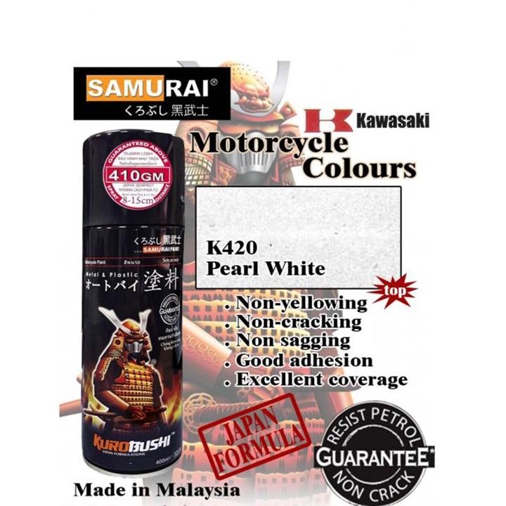 K420 _ Chai sơn xịt sơn xe máy Samurai K420 màu trắng Ngọc trai Kawasaki  giá rẻ, uy tín, giao hàng nhanh 2