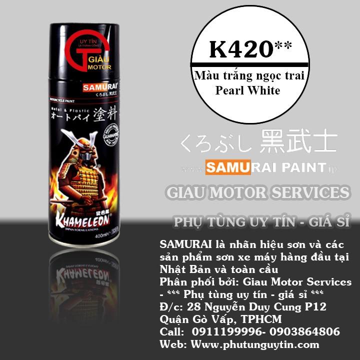 K420 _ Chai sơn xịt sơn xe máy Samurai K420 màu trắng Ngọc trai Kawasaki  giá rẻ, uy tín, giao hàng nhanh 1