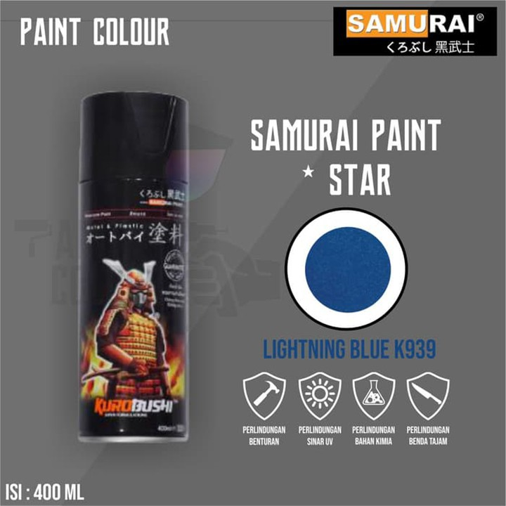 K939 _ Sơn xit Samurai K939 màu xanh sáng Kawasaki _ Lightning Blue _ Tốt, giá rẻ, ship nhanh 2