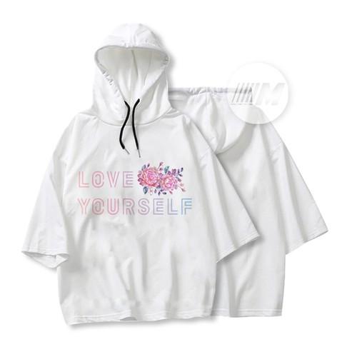 Áo hoodie tay lỡ có mũ Loveyourself BTS
