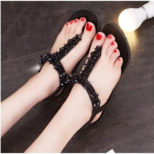 Giày sandal nữ xỏ ngón đính đá| bảo hành keo