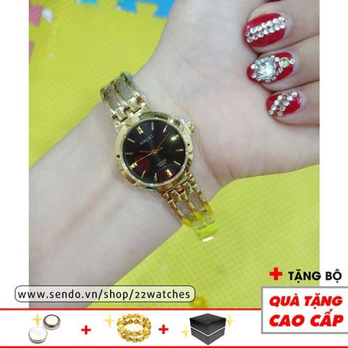 Đồng hồ HALEI nữ thời trang cao cấp HLE07 dây vàng mặt đen huyền bí quyến rũ