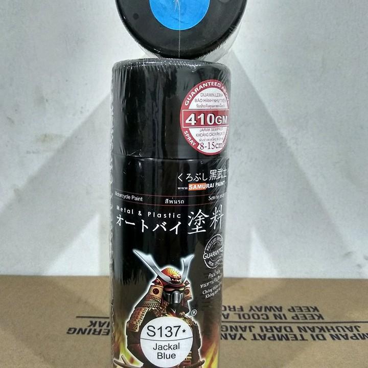 S137 _ Chai sơn xịt sơn xe máy Samurai S137 màu xanh Jackal Suzuki 6
