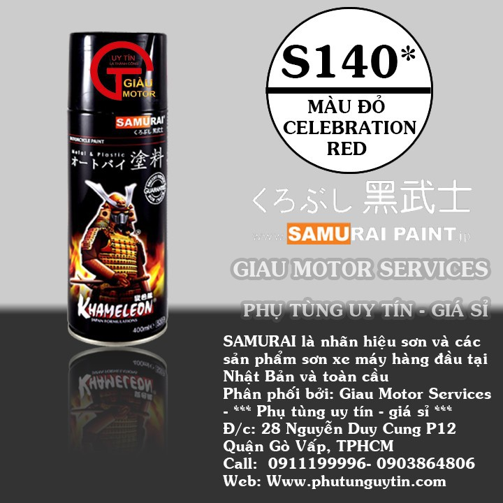 s140 _ Chai sơn xịt sơn xe máy Samurai S140 _Celebration Red _ màu đỏ rực Suzuki shop uy tín, giao nhanh, giá rẻ 1