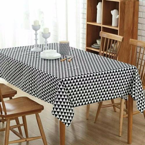 khăn trải bàn ăn cao cấp không thấm nước mẫu tam giác trắng đen size 90cm x 90cm