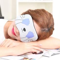 Miếng bịt mắt ngủ 3D có túi gel làm mát mắt hoạ tiết những chú mèo đêm kèm 2 cặp nút tai giảm tiếng ồn - xám tay xanh