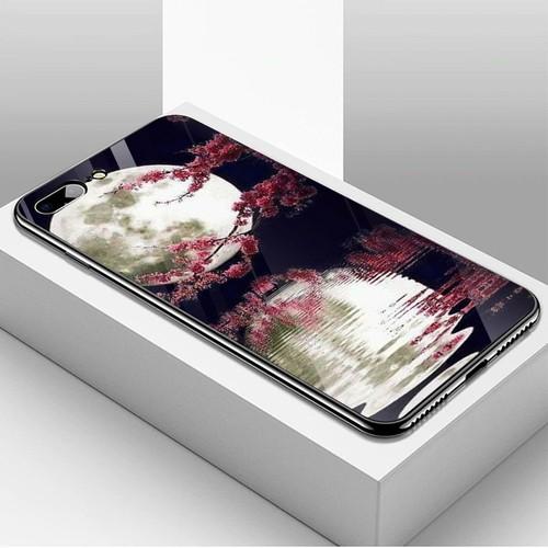 Ốp kính cường lực dành cho điện thoại iPhone 7 Plus - 8 Plus - hoa anh đào tranh phong cảnh - hadpc 031 - hàng đẹp