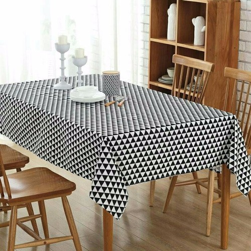khăn trải bàn ăn cao cấp không thấm nước mẫu tam giác trắng đen size 60cm x 60cm