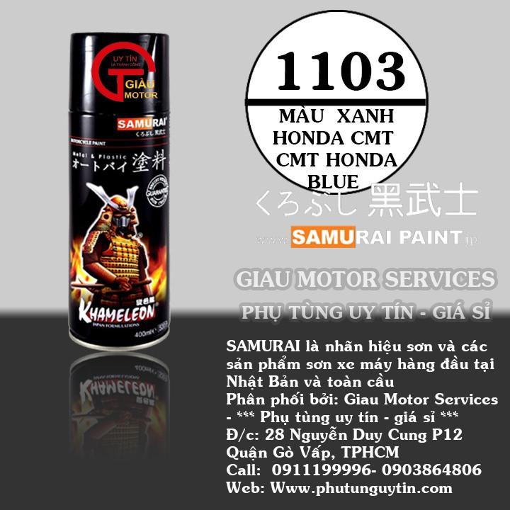 1103  _ Chai sơn xịt sơn xe máy Samurai 1103 màu xanh ánh kim tuyến  Honda _ CMT HONDA BLUE _shop uy tín 1