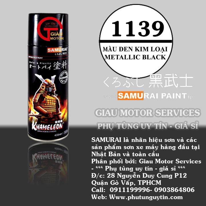 1139 _ Sơn xit Samurai 1139 màu đen kim loại _ Metallic Black _Tốt, giá rẻ, ship nhanh 1
