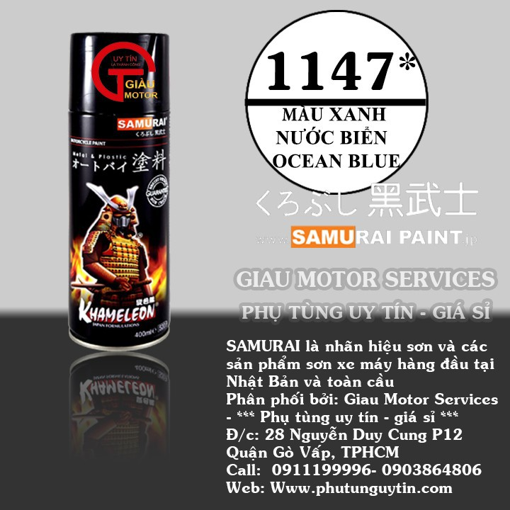 1147 _ Chai sơn xịt sơn xe máy Samurai 1147 màu xanh nước biển_ Ocean Blue samurai _ shop uy tín, giao nhanh 1