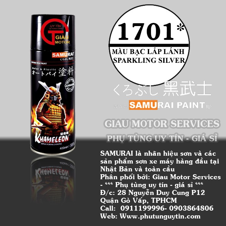 1701  _ Sơn xit Samurai 1701 màu bạc lấp lánh _ Sparkling Sliver 1