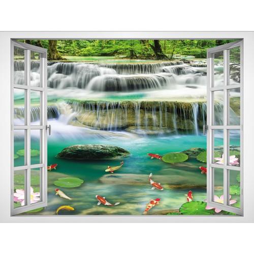 Tranh In canvas Cửa sổ VTC Phong cảnh thác nước VT0413C1 không khung KT 190 x 140 cm