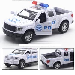 Xe ô tô cảnh sát bán tải mini có âm thanh xe bằng sắt đồ chơi trẻ em chạy cót