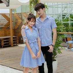 Set áo váy đôi chụp cưới đi biển màu xanh đồ đôi chụp cưới nam nữ AV14