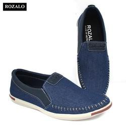 Giày lười vải khâu siêu bền thời trang nam Rozalo R4520-Màu Xanh