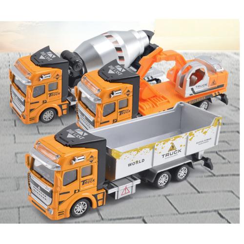 Đồ chơi xe ô tô tải chở hàng đồ chơi trẻ em tỉ lệ 1:48 cabin xe bằng sắt xe chạy cót