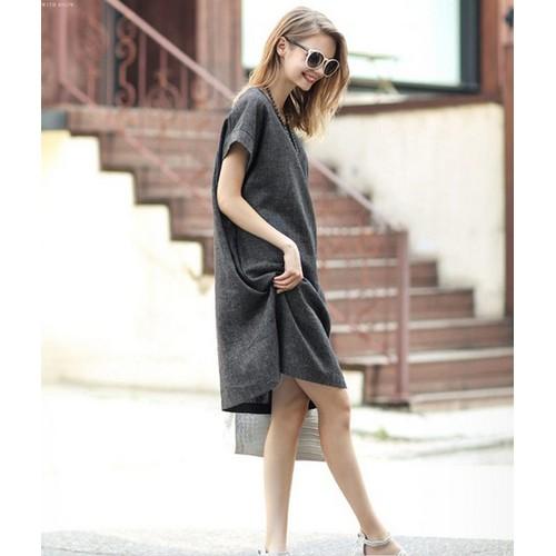 Đầm suông nữ có dây thắt eo 2D2823