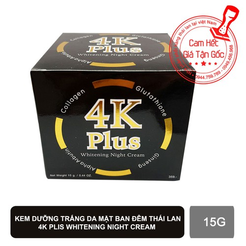 Kem dưỡng trắng da mặt 4K PLUS Whitening Night Cream thái lan 【Tặng Kem Trị Thâm Nách Q-nic】 - 11210145 , 17509188 , 15_17509188 , 240000 , Kem-duong-trang-da-mat-4K-PLUS-Whitening-Night-Cream-thai-lan-Tang-Kem-Tri-Tham-Nach-Q-nic-15_17509188 , sendo.vn , Kem dưỡng trắng da mặt 4K PLUS Whitening Night Cream thái lan 【Tặng Kem Trị Thâm Nách Q-n