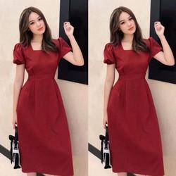 Đầm Cổ Vuông Tay Phong Sang Chảnh