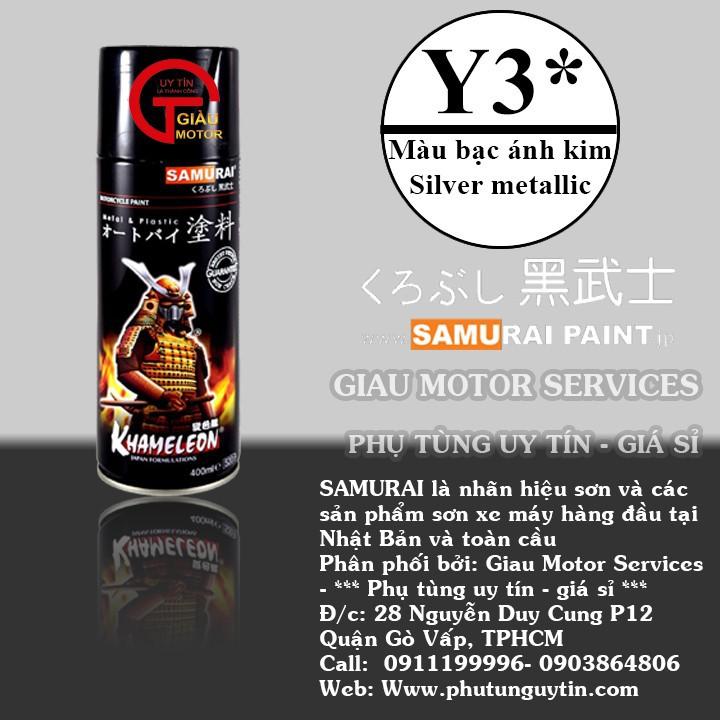 Y3 _Chai sơn xịt sơn xe máy Samurai Y3* màu bạc ánh kim - Silver Metallic Yamaha  giá rẻ, uy tín, giao hàng nhanh 1