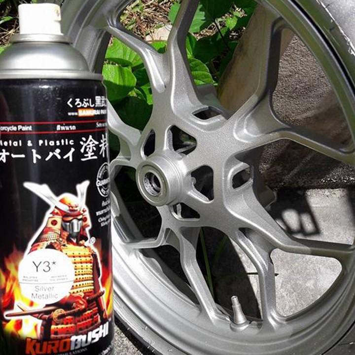 Y3 _Chai sơn xịt sơn xe máy Samurai Y3* màu bạc ánh kim - Silver Metallic Yamaha  giá rẻ, uy tín, giao hàng nhanh 2
