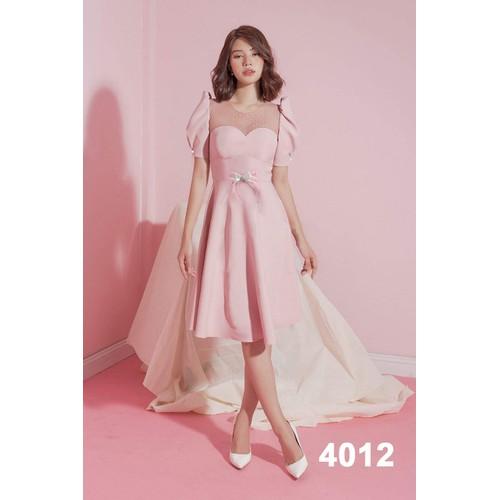 Đầm xòe hồng phối lưới bi dự tiệc 4012